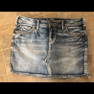 Silver Francy Mid Jean Skirt